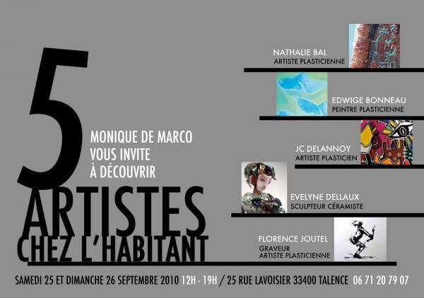 """affiche exposition """"5 artistes chez l'habitant""""2010."""