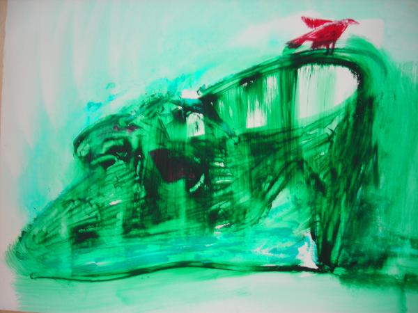 """""""Chaussure verte et oiseau rouge."""""""