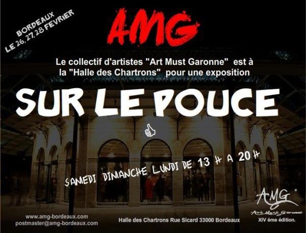 """Affiche exposition collective""""Sur Le Pouce"""",Halle des Chartrons,Bordeaux."""