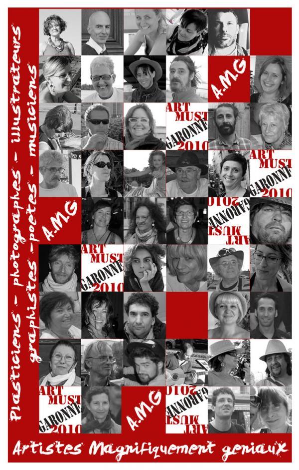 Affiche  du collectif AMG,plasticiens,photographes,graphistes,poètes.2010